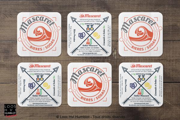 Sous-bock imprimé et personnalisépour Mascaret Bière et Sodas