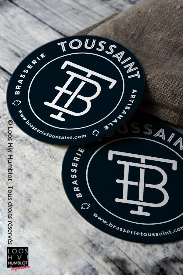 Sous-bock imprimé et personnalisépour La Brasserie Toussaint