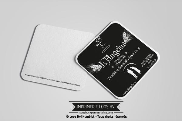 Sous-bock carré imprimé et personnalisé pour Angelus Brasserie Lepers