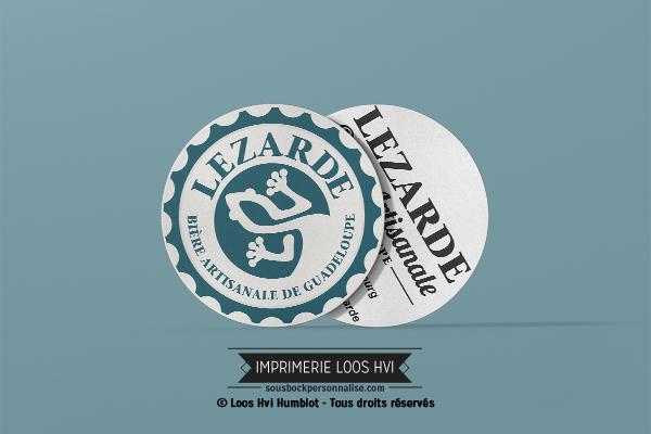 Sous-bock rond imprimé et personnalisé pour les bières la Lézarde