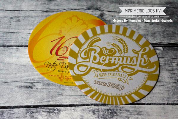 Sous-bock rond imprimé et personnalisé pour Masclaux Bermush