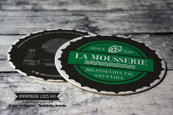 Dessous de verre Sous-bock imprimé personnalisé pour La Mousserie Brasseurs des Saveurs à Mérignies (59)