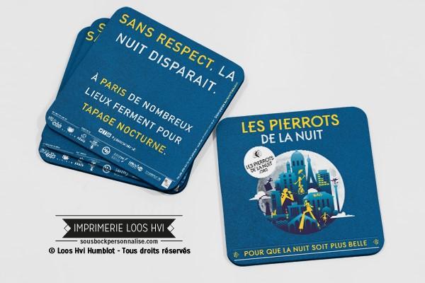 Impression de dessous de verre sous bock personnalisé pour le dispositif Pierrots de la Nuit à Paris (75)