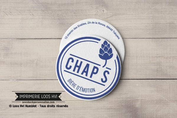 Dessous de verre Sous-bock imprimé personnalisé pour Autour de la bière Chap\'s bière d\'émotion à Taluyers (69)