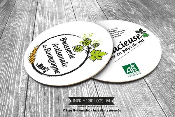 Dessous de verre Sous-bock imprimé personnalisé pour L\'Audacieuse Brasserie artisanale de Bourgogne de Chagny (71)