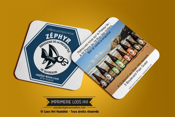 Dessous de verre Sous-bock imprimé personnalisé pour Zephyr la Brasserie de la Presqu\'île de Quiberon de Saint Pierre de Quiberon (56)