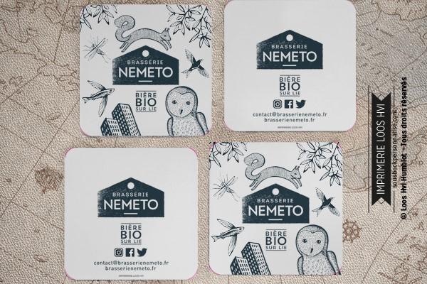 Dessous de verre Sous-bock imprimé personnalisé pour la brasserie Nemeto et sa bière Bio sur Lie à Nanterre (92)