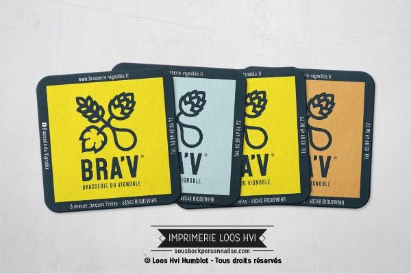 Dessous de verre Sous-bock imprimé personnalisé pour La Brasserie du Vignoble à Riquewihr (68)