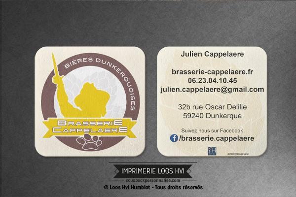 Dessous de verre Sous-bock imprimé personnalisé pour la Brasserie Cappelaere de Dunkerque (59)